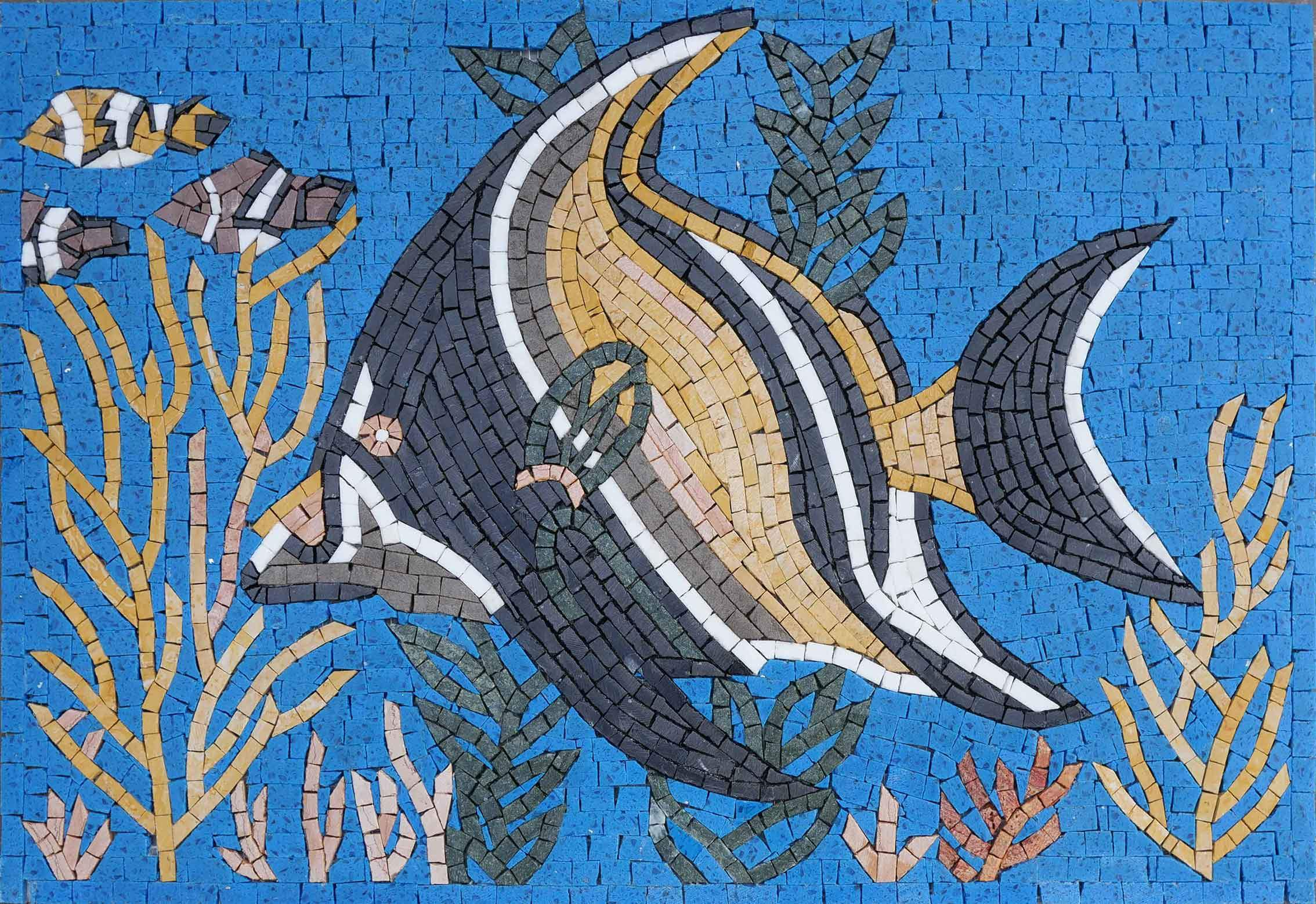Angelfish In Deep Reef - Mosaic Wall Art