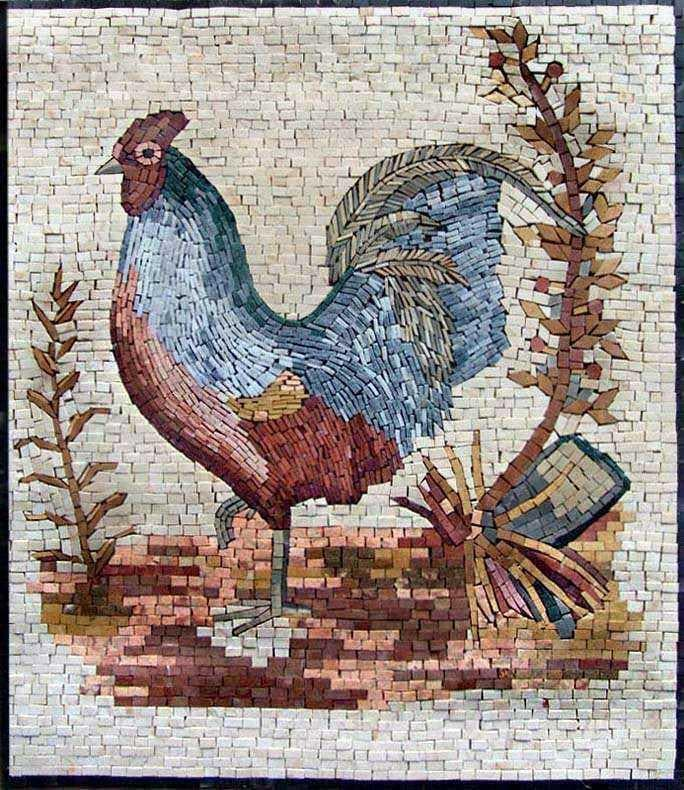 Mosaic Kitchen Backsplash- Cockerel