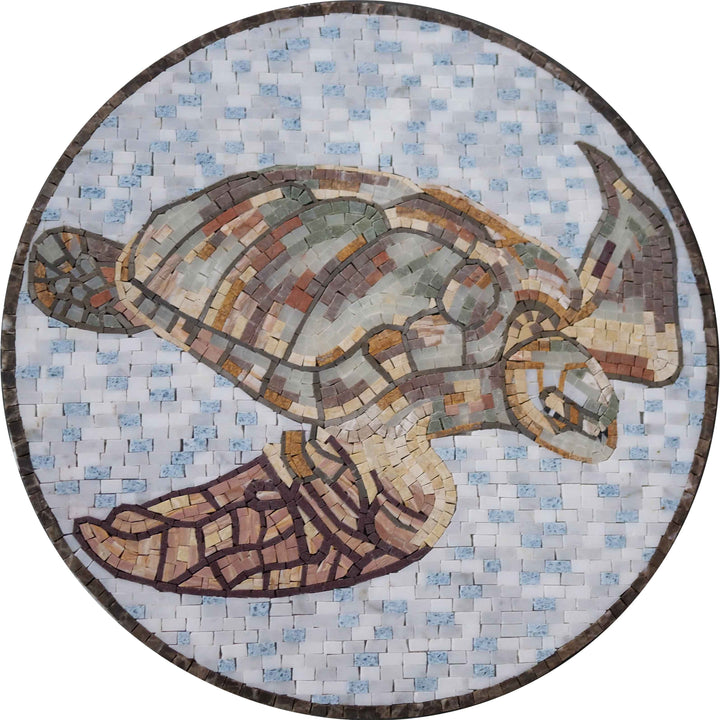 Brass Sea Turtle Mosaic Medallion