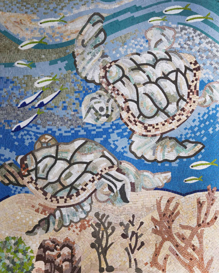 Marble Mosaic Pool Art - Turtles at Sea