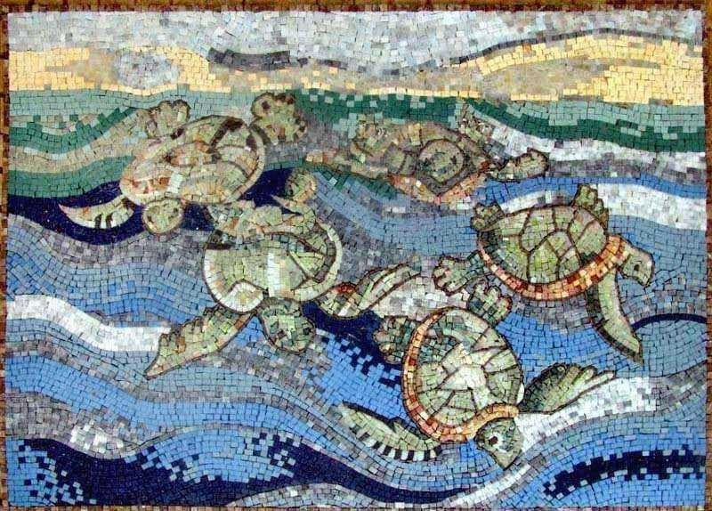 A Group Of Sea Turtles Mosaic Pic