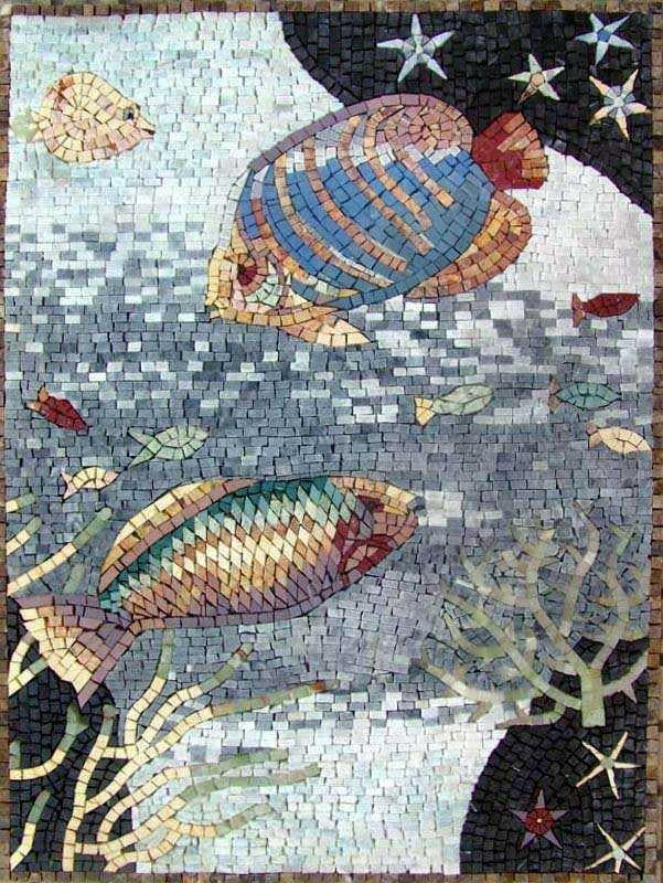 Fish Marble Mosaic Art