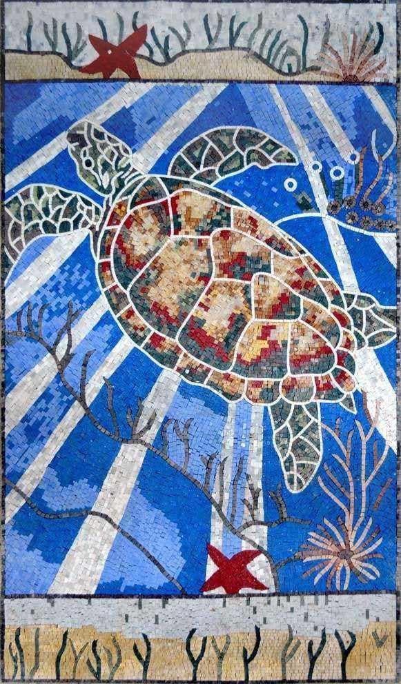 Awesome Colorful Sea Turtle Mosaic Art Marine Life