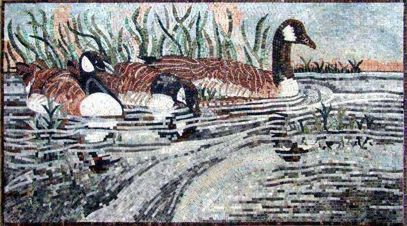 Mosaic Art - Swimming Ducks