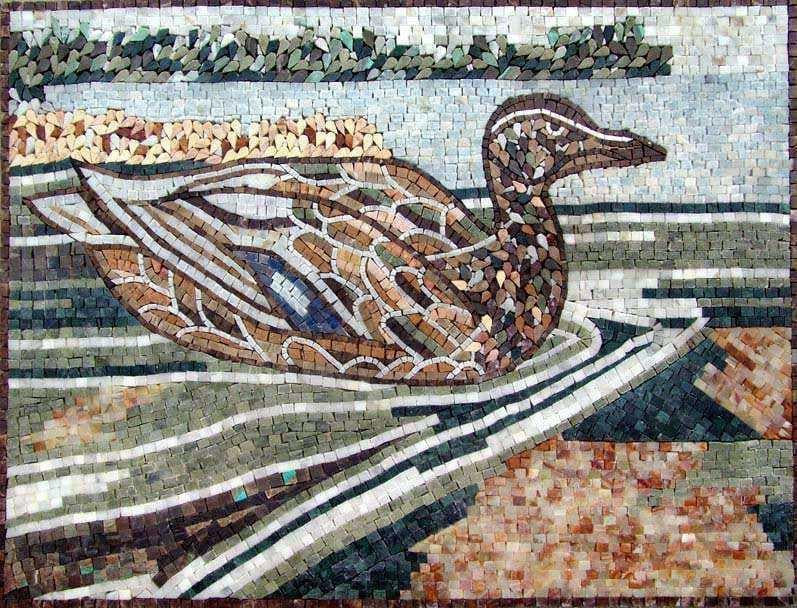 Mosaic Art Duck On The Water Pic