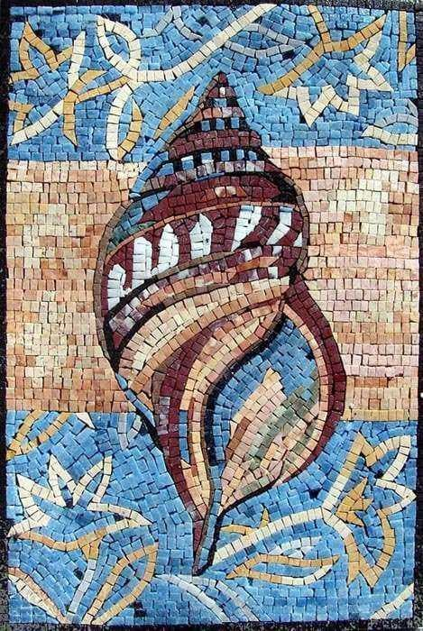 Shell Marble Mosaic Hand Made Marine Life Amp Nautical Mozaico