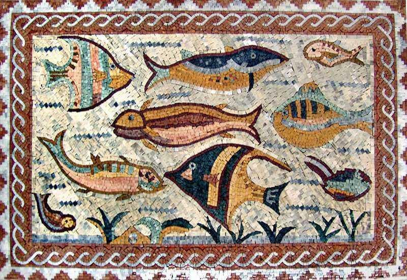 Framed Fish Marble Mosaic