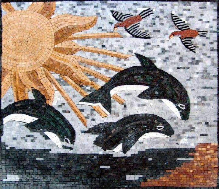 Dolphins in The Ocean Mosaic