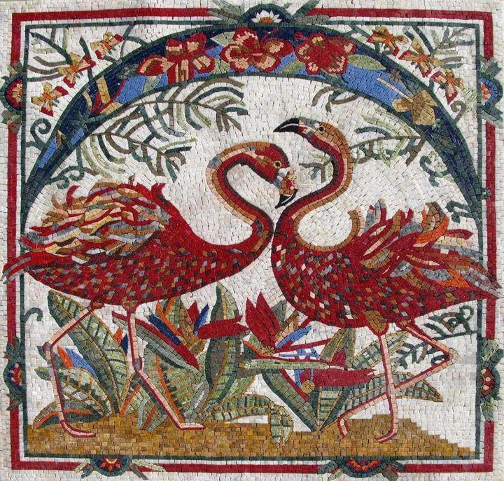 Mosaic Art - Red flamingos