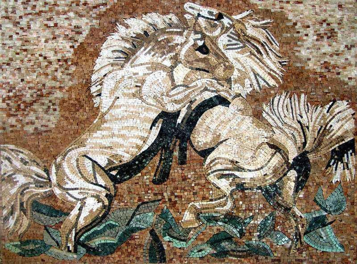 Mosaic Artwork - Horses in Love