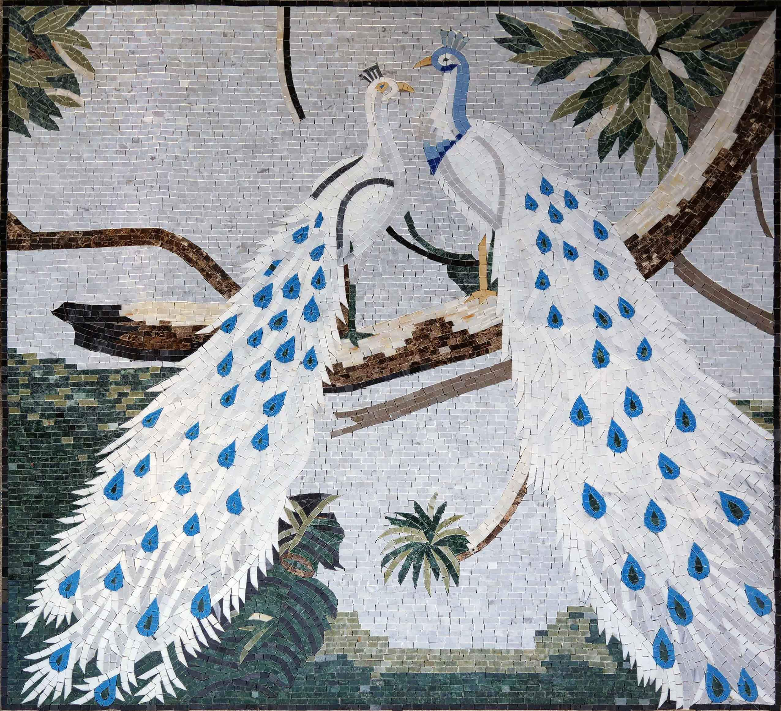 Animal Mosaic Designs - White Peacocks