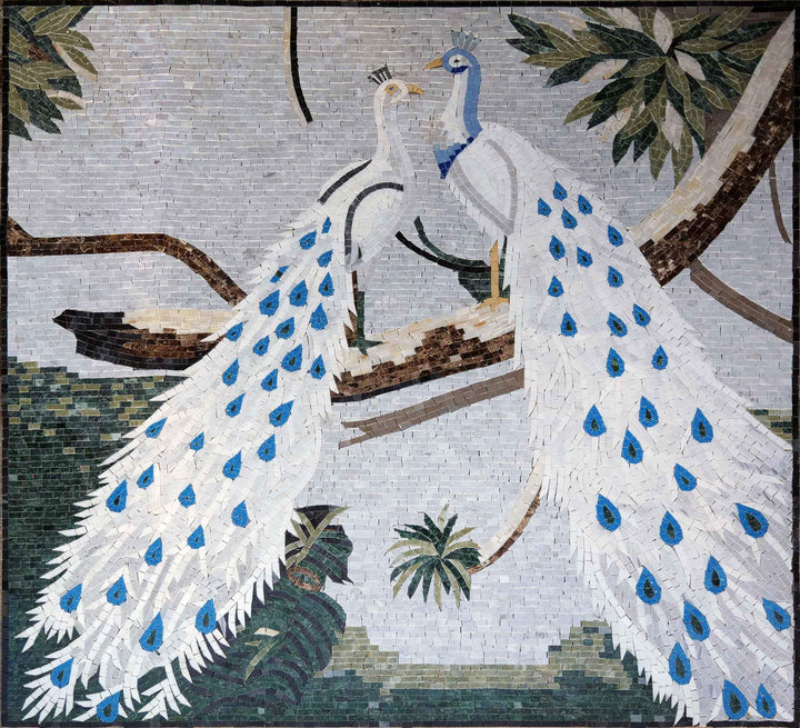 Animal Mosaic Designs - White Peacocks | Birds And Butterflies | Mozaico