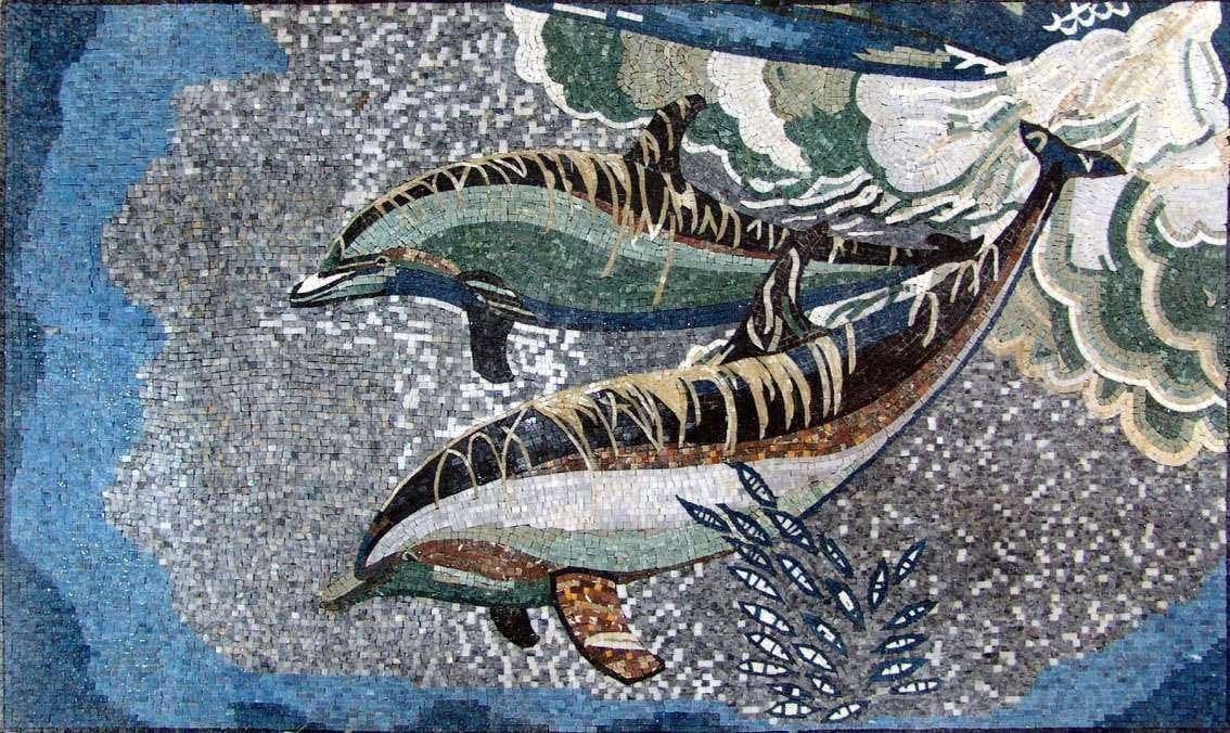 Deep Ocean and Dolphins Marble Mosaic Art