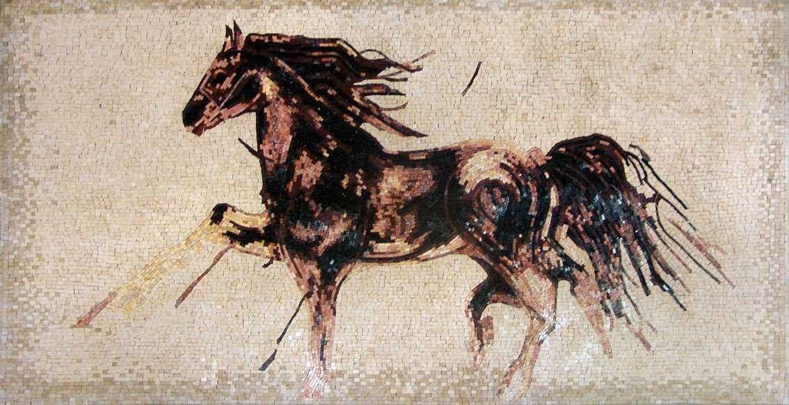 Marble Mosaic Horse Gallop Pic