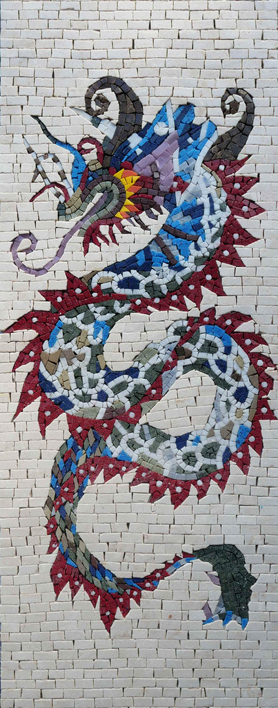 Colorful Chinese Dragon Marble Mosaic