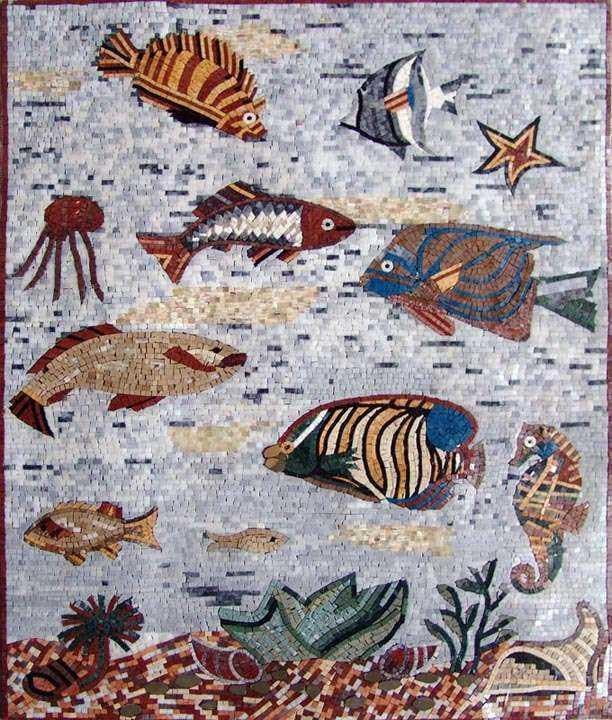 Sea Creatures Aquarium Mosaic