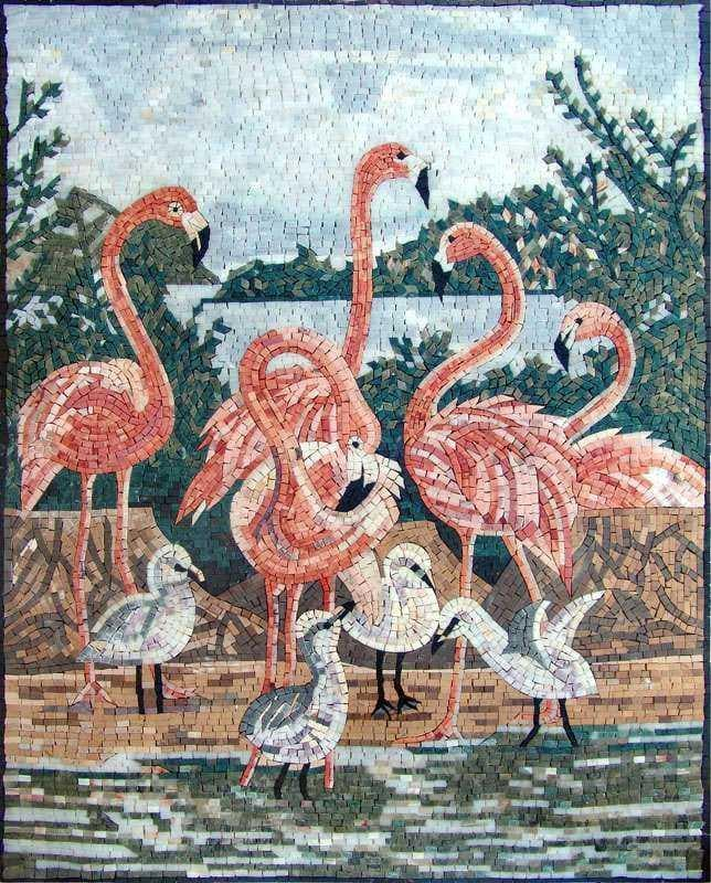 Animal Mosaic Designs - Pink Flamingo