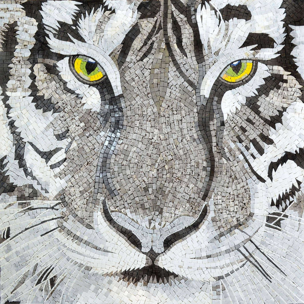 Mosaic Art - Eyes of The White Tiger