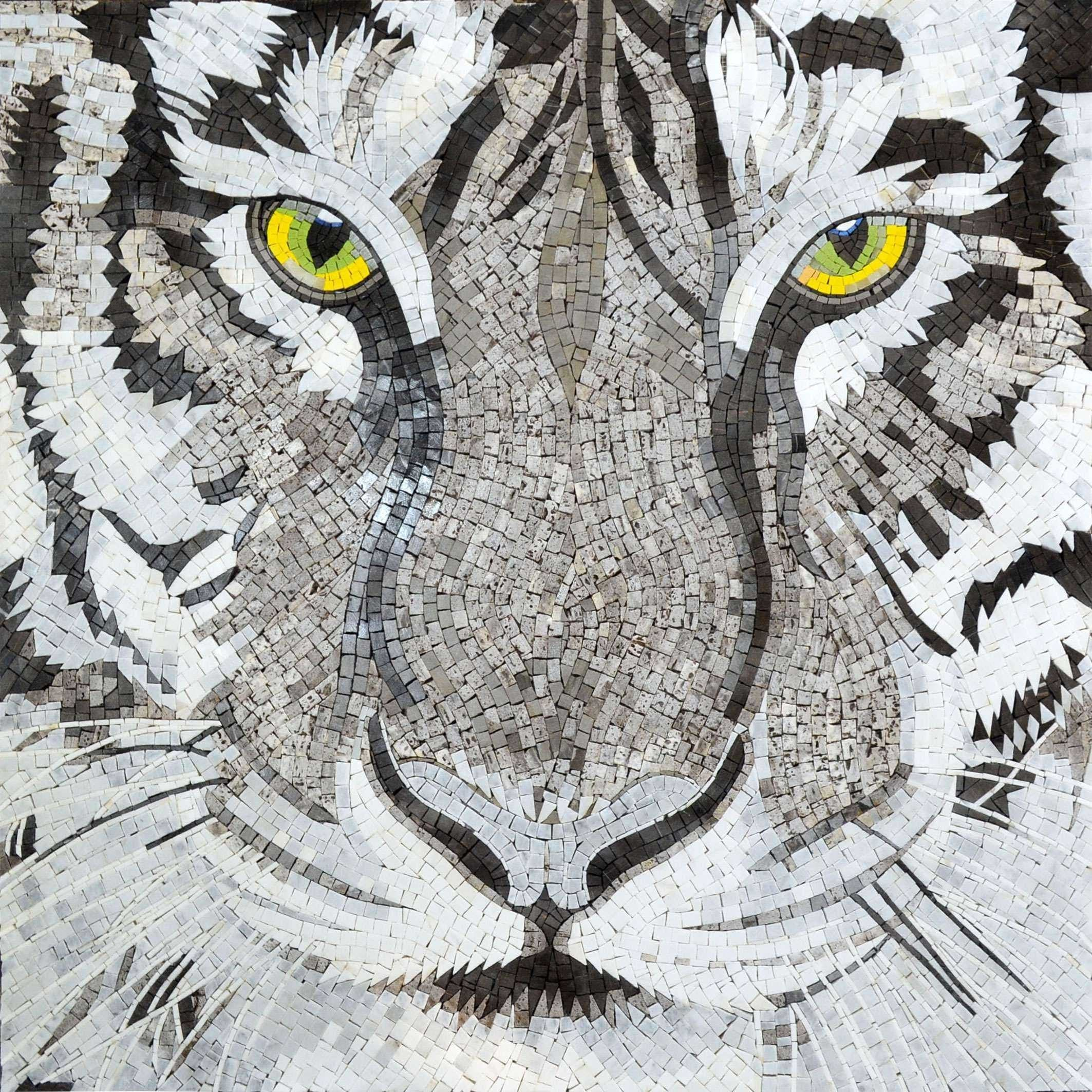 Mosaic Art Eyes Of The White Tiger Pic