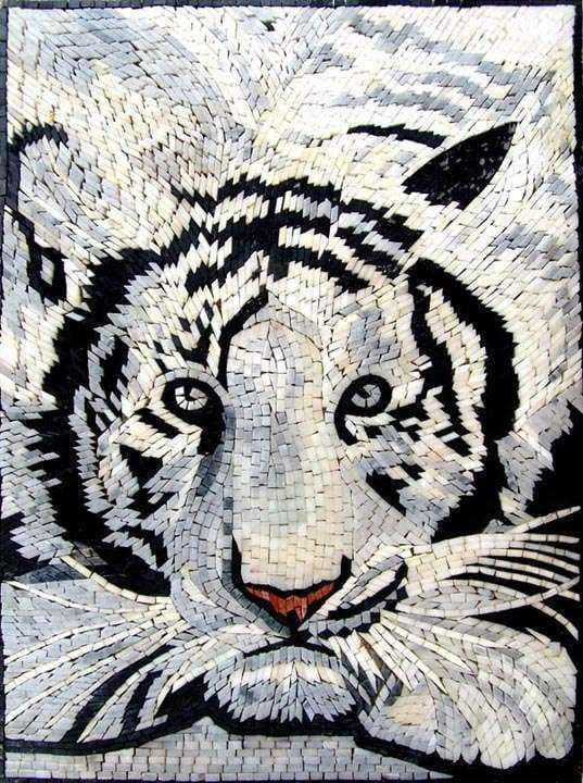 Wildlife Mosaic Designs - White Tiger
