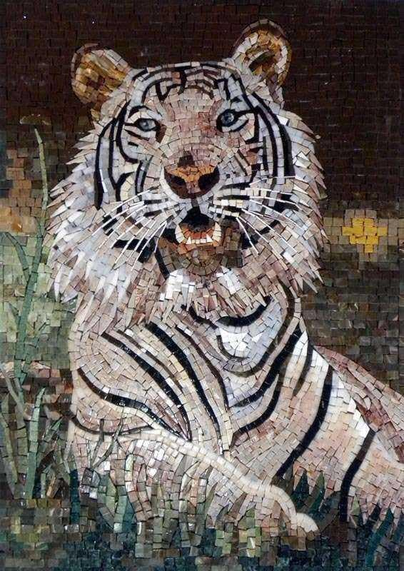 Mosaic Wall Art - White Tiger