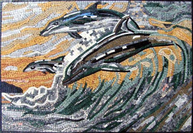 Dolphin Marble Mosaic