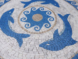The Three Dolphins Mosaic Artwork