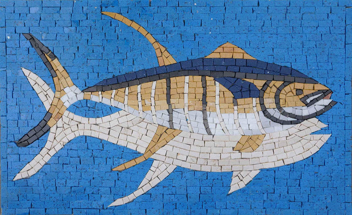 Bluefin Tuna On Blue - Mosaic Wall Art