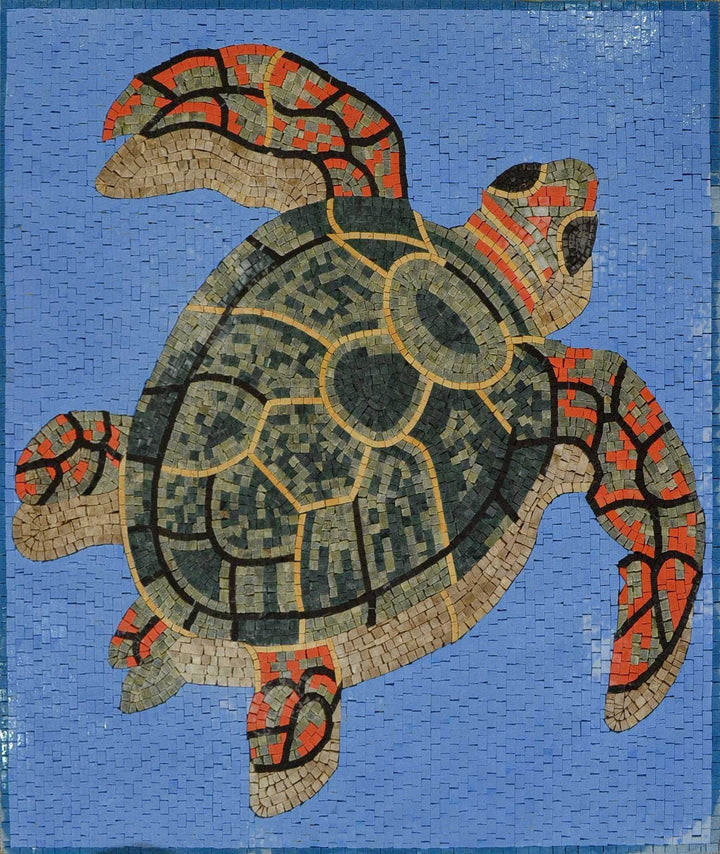 Swimming Sea Turtle Marble Mosaic