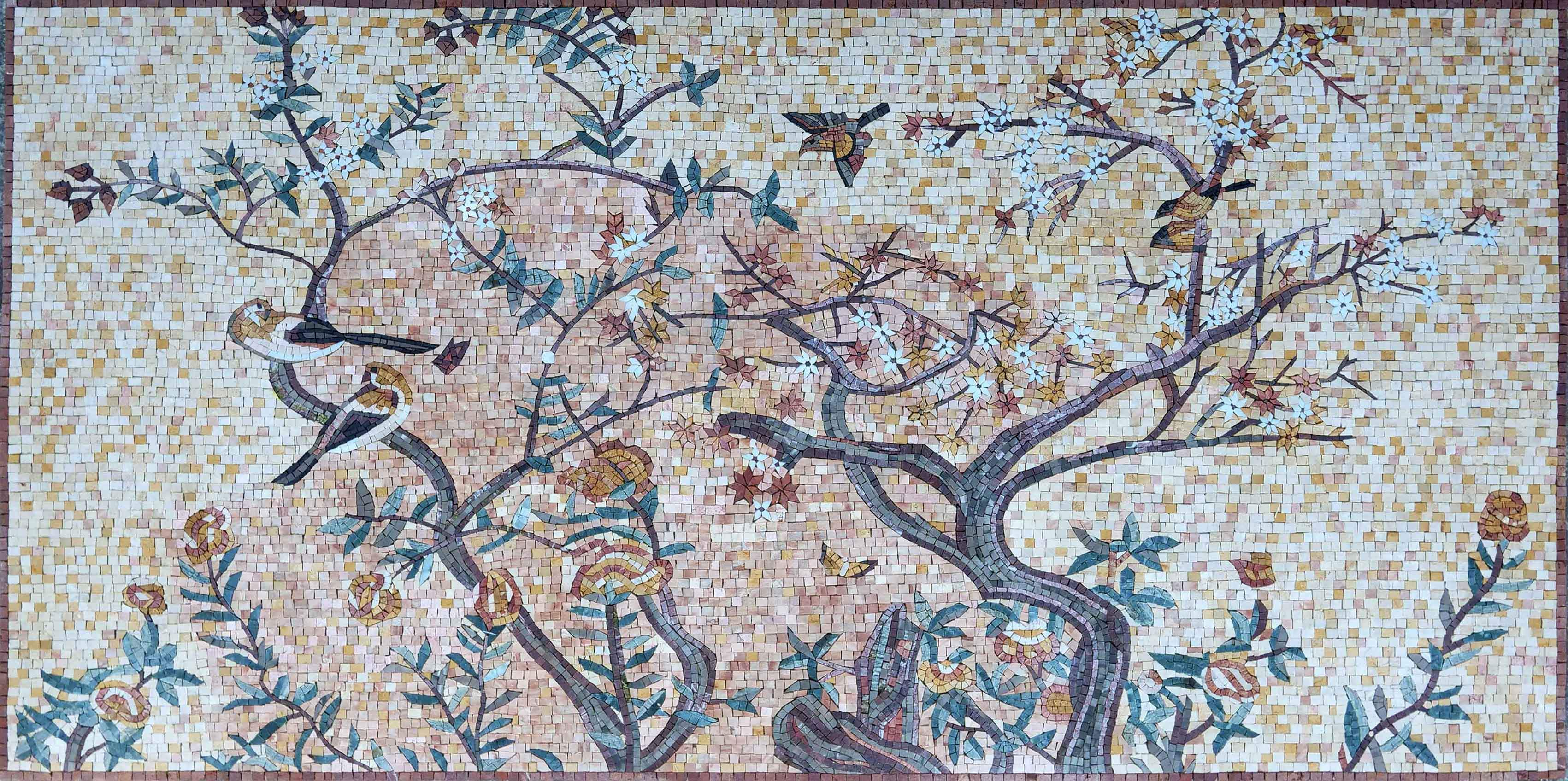 Mosaic Art Blooming Tree And Birds Pic