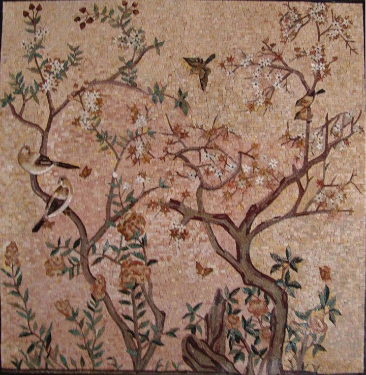 Mosaic Art - Blooming Tree and Birds