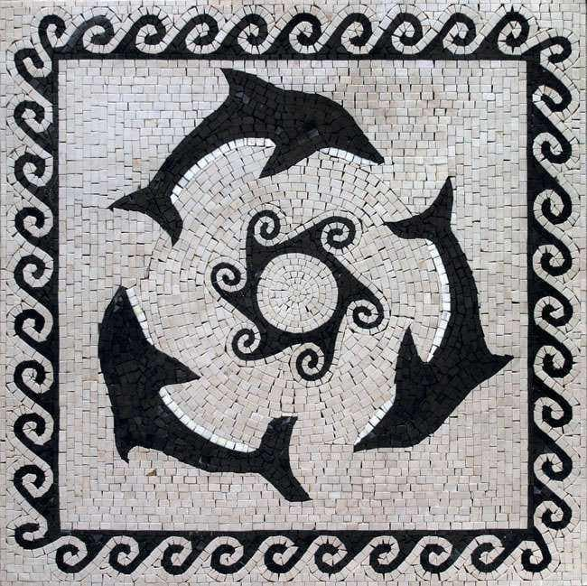 Three Black Dolphins Mosaic
