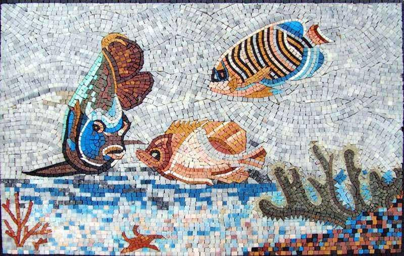 Fish in the Coral Reef Marble Mosaic