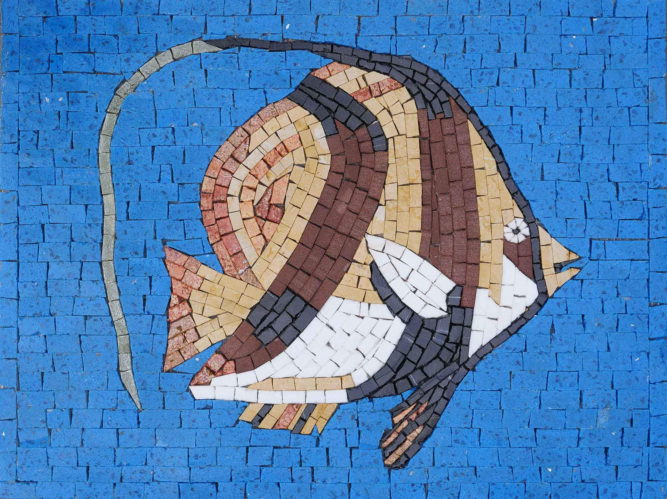 Brown Moorish Idol fish- Mosaic Wall Art
