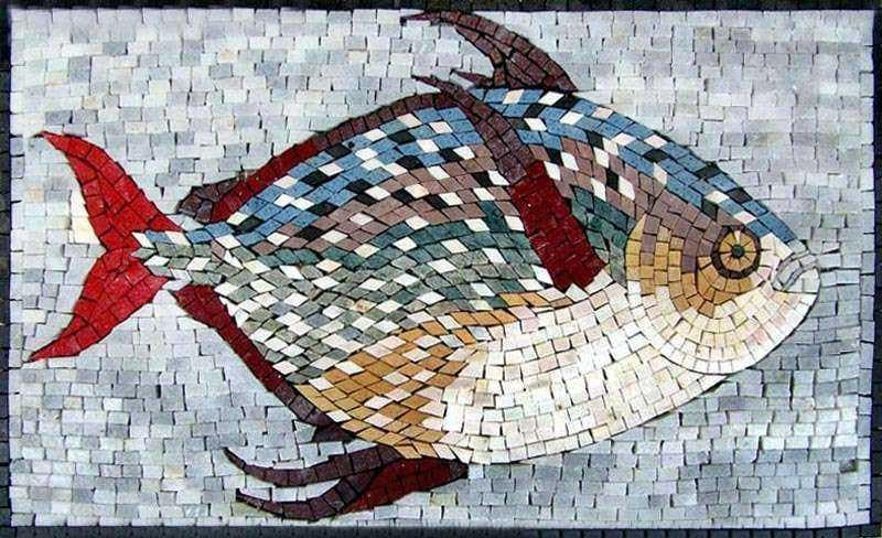 Beautifully colored Fish Marble Mosaic