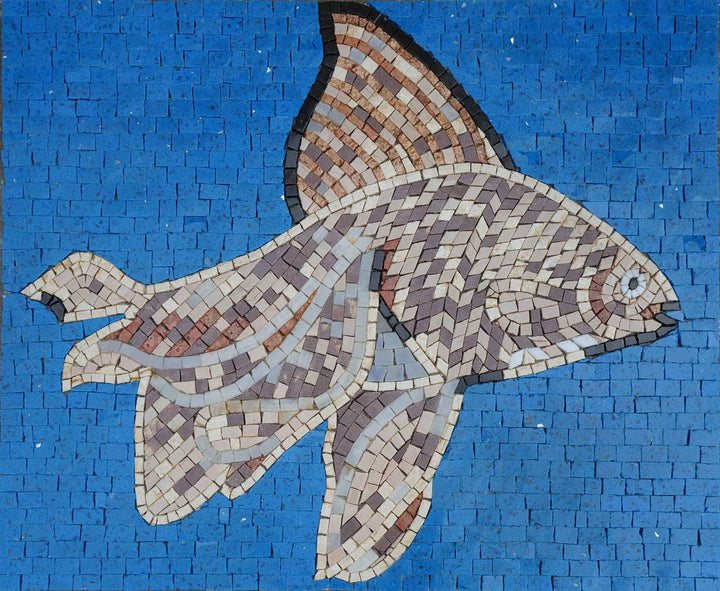 Winged Fish - Mosaic Design - Wall Art