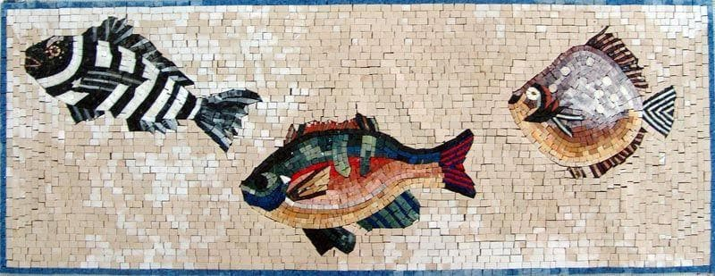 Three  Fish Marble Mosaic Art