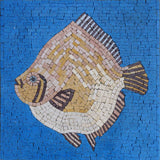 Dab Fish On Blue - Mosaic Wall Art