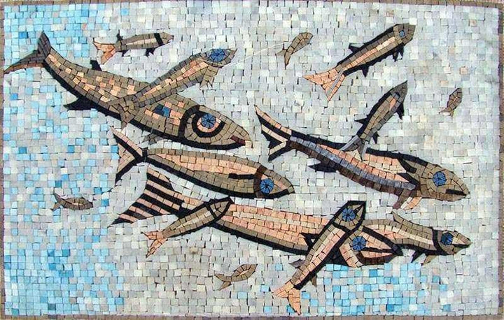 Group of Swimming Fish Marble Mosaic