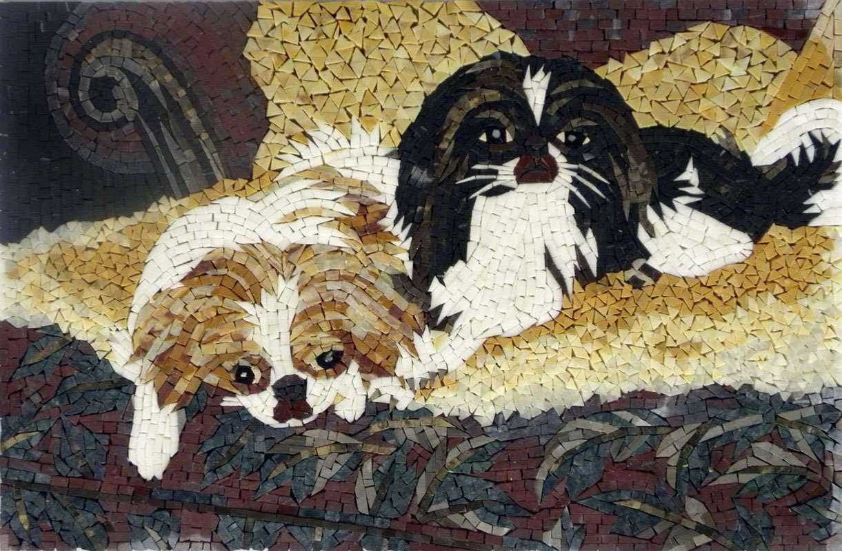 Mosaic Art Two Dogs Pic