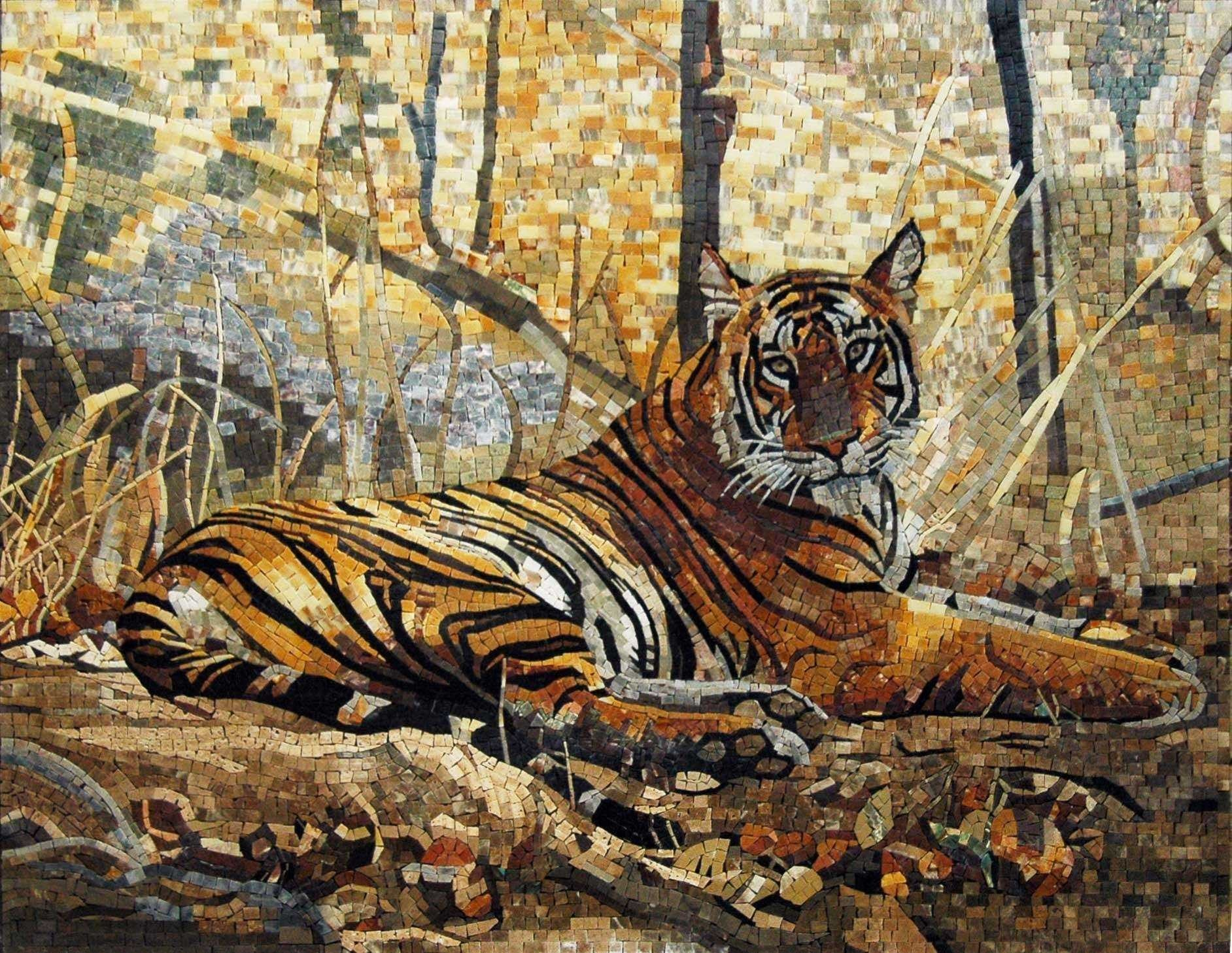 Mosaic Artwork Captivating Tiger Pic