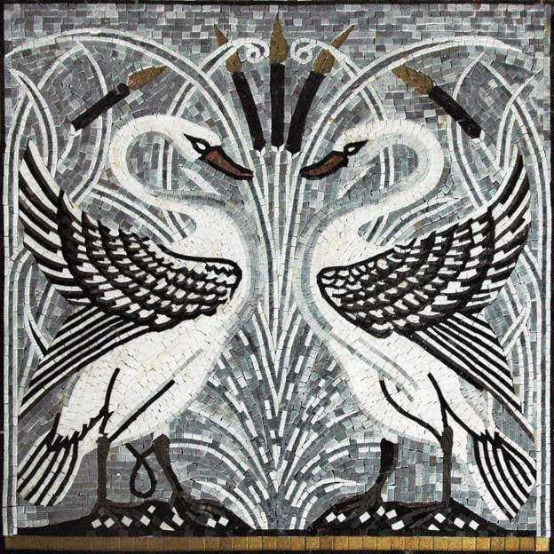 Mosaic Tile Patterns White Swans Pic