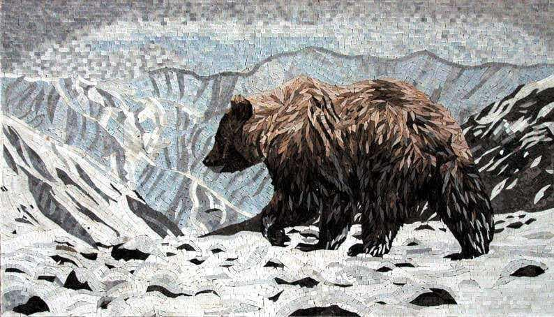 Mosaic Animal Art Bear In The Snowy Mountains Pic