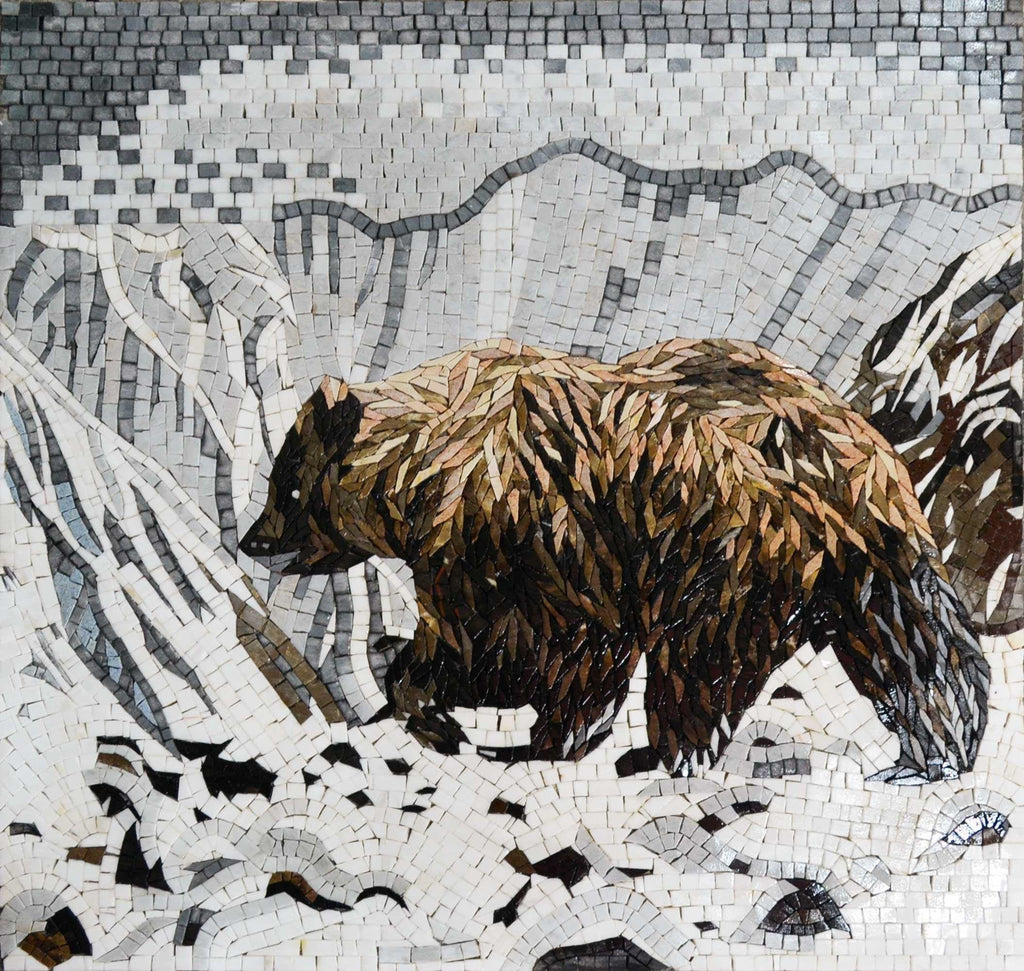 Mosaic Animal Art - Grizzly Bear in the Snow