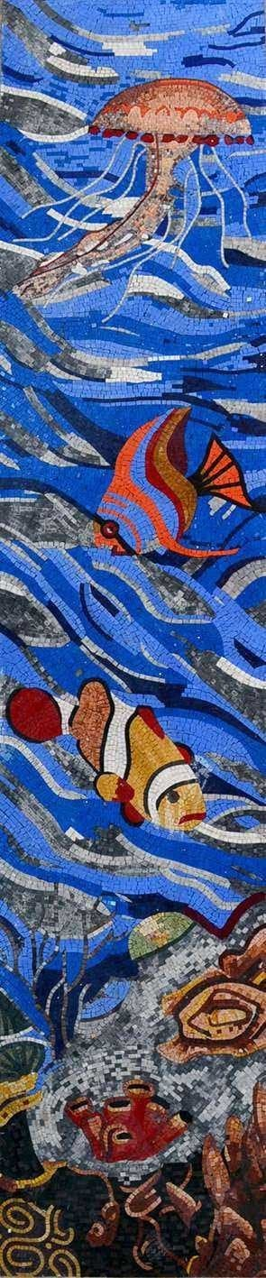 Fish and Jelly Fish in the Ocean Nautical Scene Mosaic