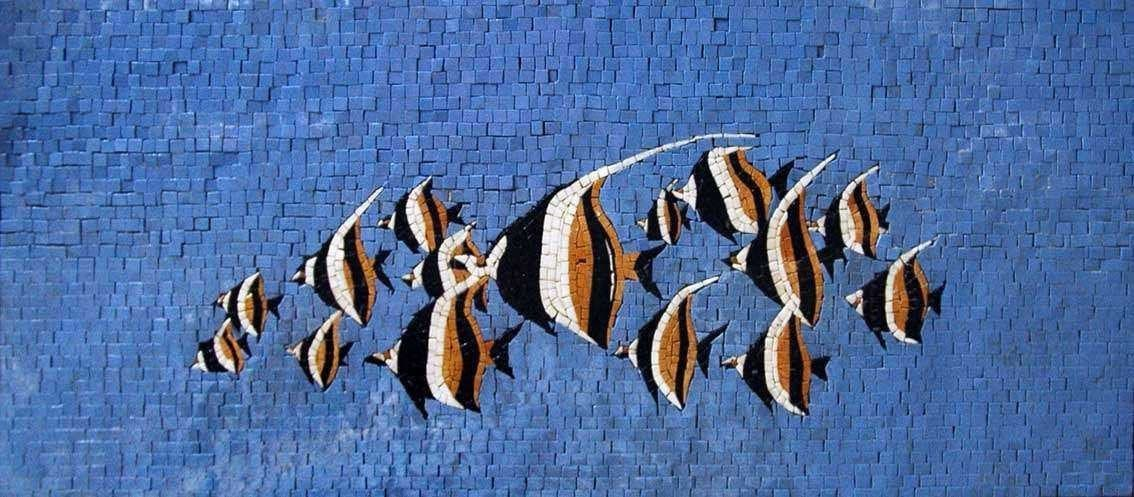 Group Of Fish In The Blue Sea Marble Mosaic Pic