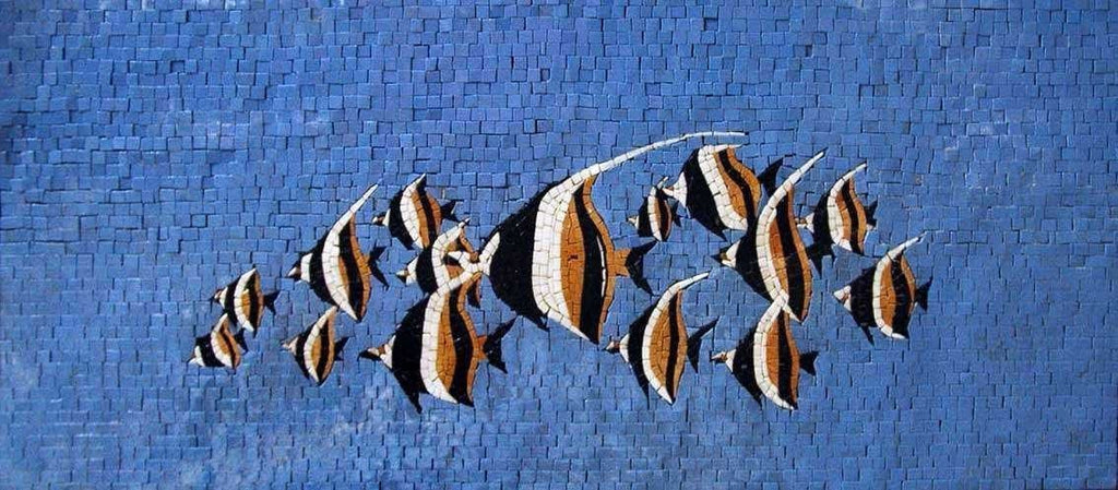 Group of Fish in  the Blue Sea Marble Mosaic