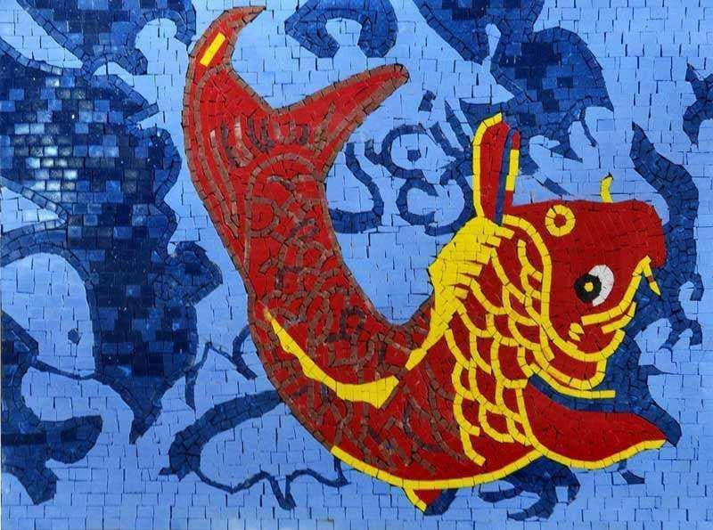 Fish Artistic Design Mosaic Stone Art