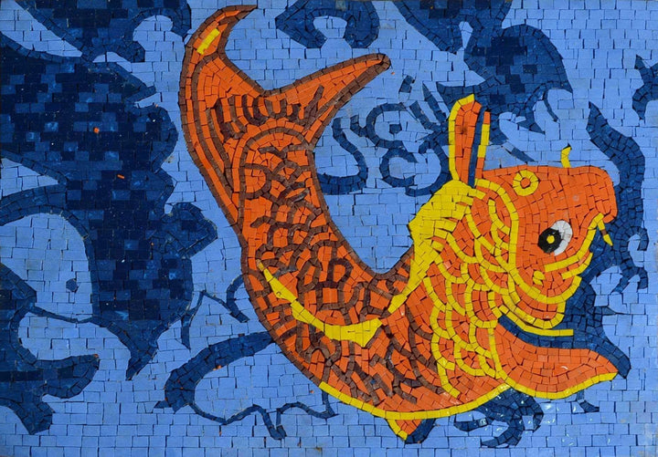 Orange Fish Marble Mosaic Nautical Art