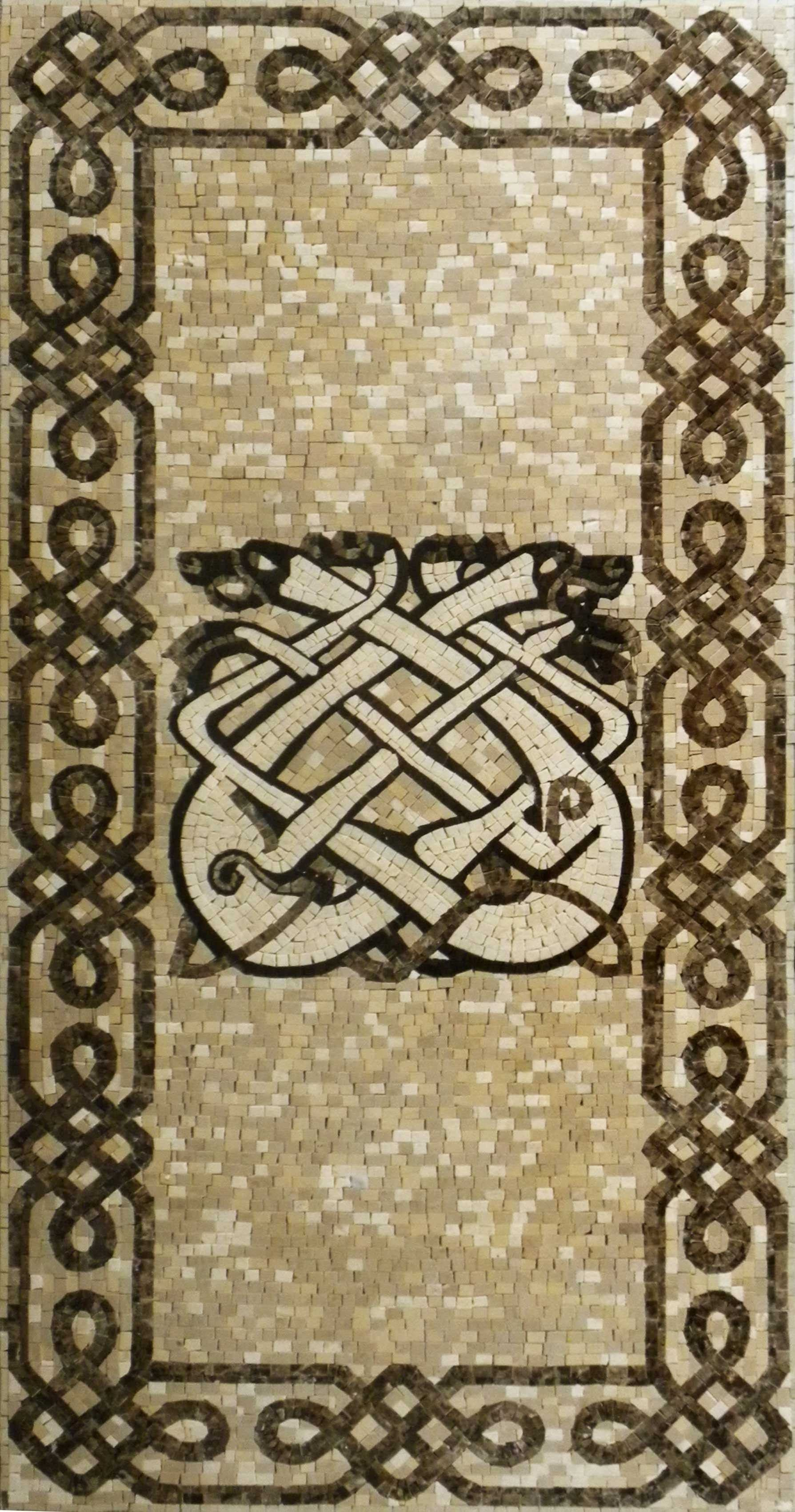Marble Mosaic Art Celtic Dogs Pic